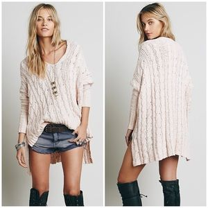 Free People Cable V-Neck Pullover